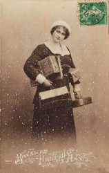 Vintage Christmas Shopping Lady