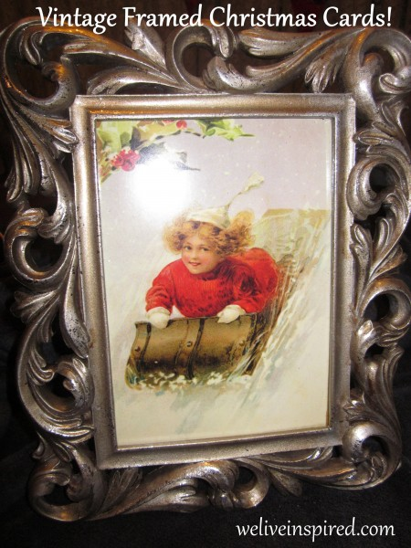 Vintage Christmas Card Framed