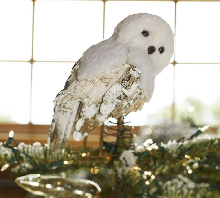 pottery barn tree topper - Christmas Tree Decorated With Owls