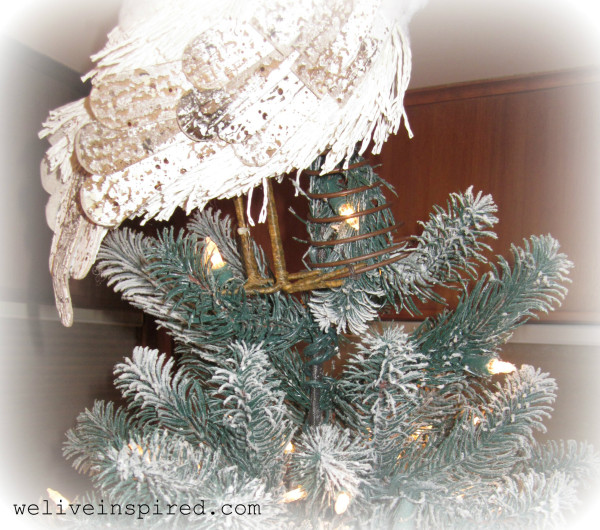 snowy owl tree topper detail