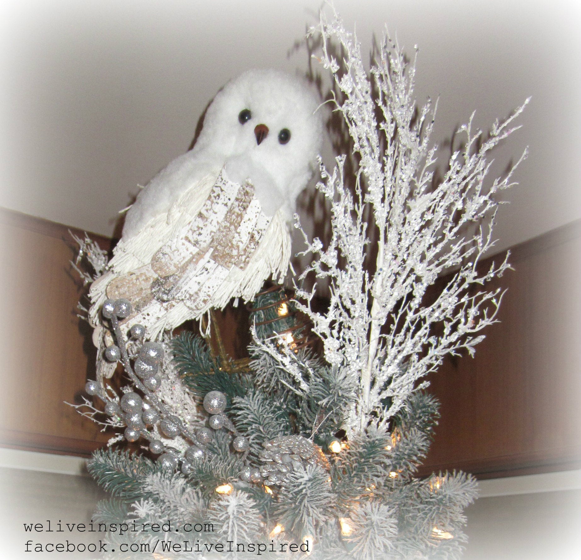 snowy owl tree topper - Christmas Tree Decorated With Owls