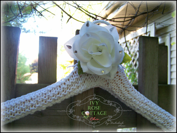 ivy rose cottage chic elegant white rose and rhinestone bridal hanger